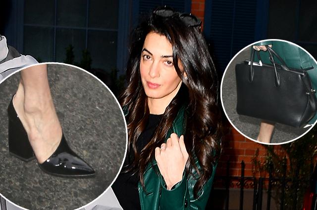 Street style Amal Clooney Michael Kors leather coat, Jimmy